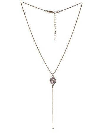 Colar Armazem RR Bijoux gravatinha cristais coloridos dourado