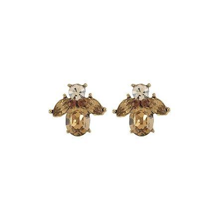 Brinco Armazem RR Bijoux cristais oval e navete dourado