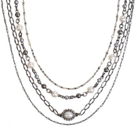 Colar Armazem RR Bijoux correntes pérolas prata e grafite