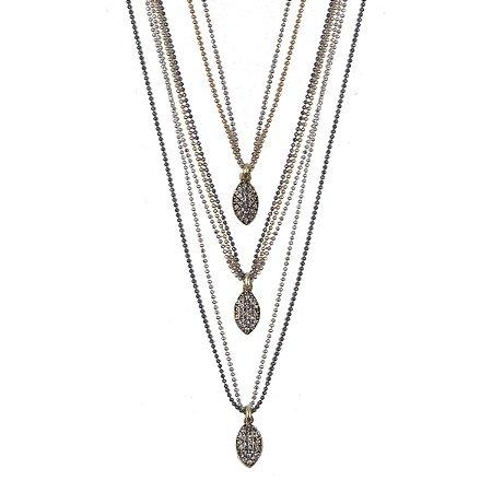 Colar Armazem RR Bijoux triplo navetes cristais ouro prata e grafite