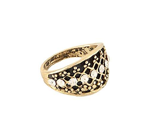 Anel Armazem RR Bijoux falange cristais dourado