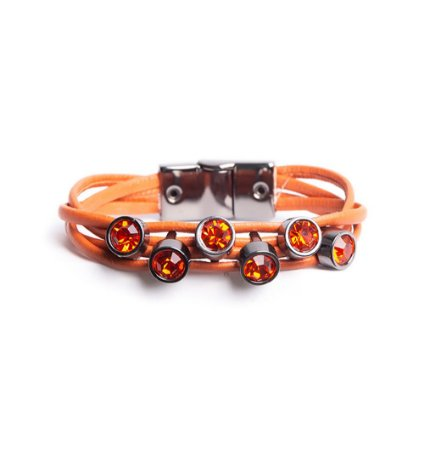 Pulseira Armazem RR Bijoux couro cristais laranja
