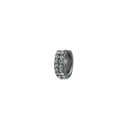 Brinco Armazem RR Bijoux piercing cristais cravejados grafite