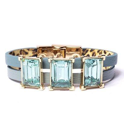 Pulseira Armazem RR Bijoux couro cristais quadrados azul