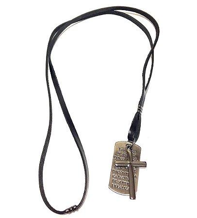 Colar masculino Armazem RR Bijoux couro cruz preto