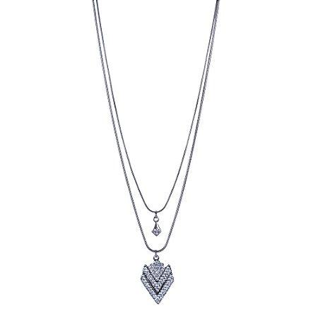 Colar Armazem RR Bijoux longo duplo cristais prata