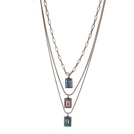 Colar Armazem RR Bijoux triplo cristais coloridos