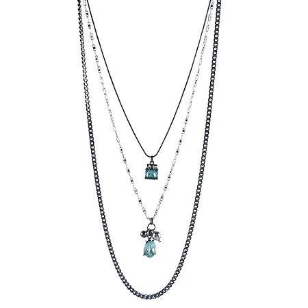 Colar Armazem RR Bijoux triplo cristal azul claro