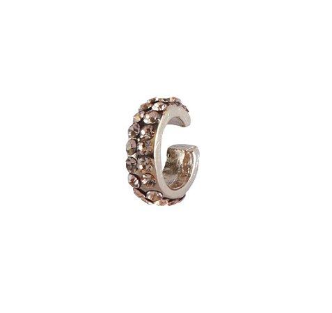 Brinco Armazem RR Bijoux piercing cristais rosê