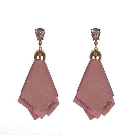 Brinco Armazem RR Bijoux de couro rose