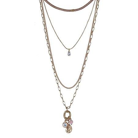 Colar Armazem RR Bijoux triplo cristal com chocker rosa