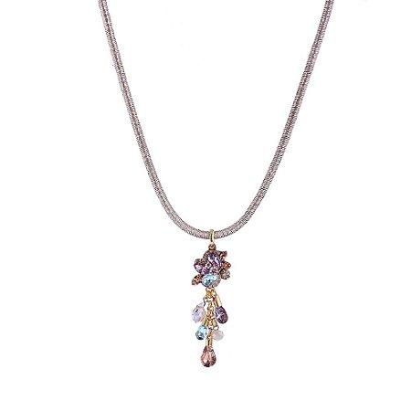 Colar Armazem RR Bijoux fio dourado com cristais coloridos