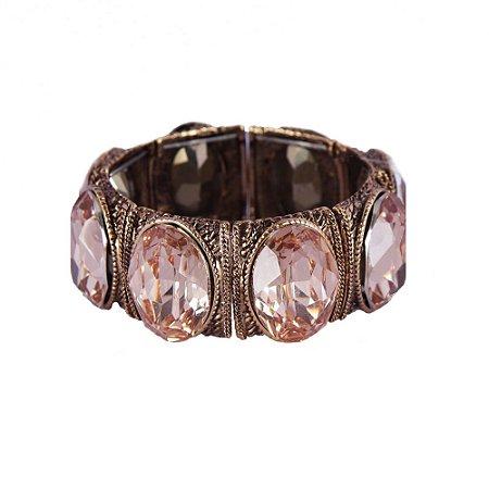 Pulseira Armazem RR Bijoux cristal oval rose