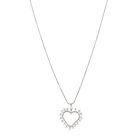 Colar Armazem RR Bijoux curto coração pérolas prata