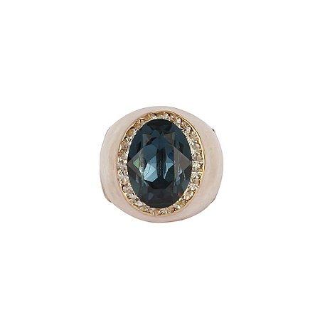 Anel Armazem RR Bijoux resinado pedra azul