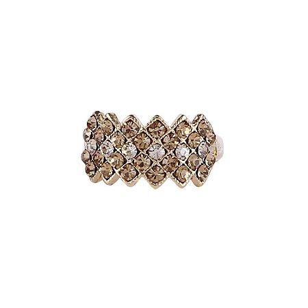 Anel Armazem RR Bijoux cristais cravejados dourado