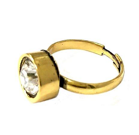 Anel Armazem RR Bijoux cristal swarovski regulável dourado