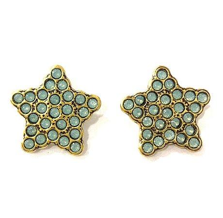 Brinco Armazem RR Bijoux estrela cristal swarovski azul