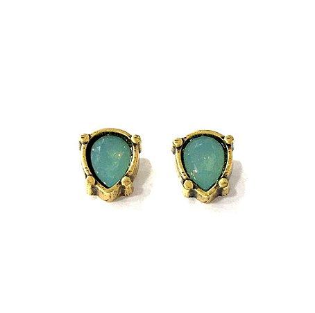 Brinco Armazem RR Bijoux mini gota cristal swarovski azul