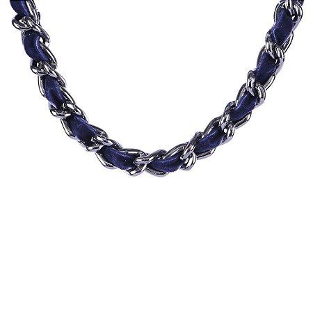 Colar Armazem RR Bijoux correntes com tecido azul marinho