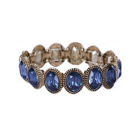 Pulseira Armazem RR Bijoux cristal oval azul marinho