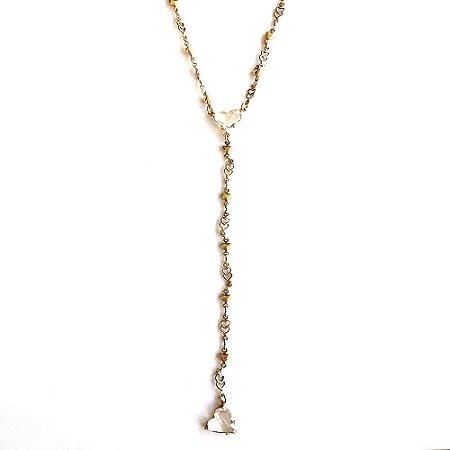 Colar Armazem RR Bijoux cristal swarovski gravatinha coração dourado