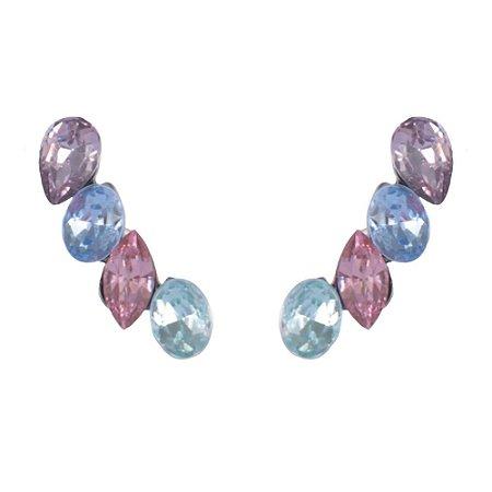 Brinco Armazem RR Bijoux ear cuff azul e rosa