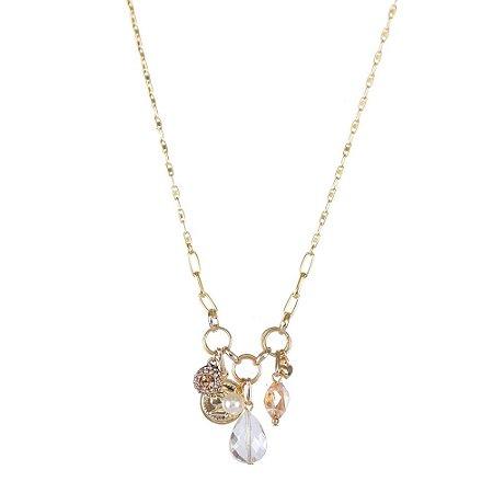 Colar Armazem RR Bijoux cristais dourado