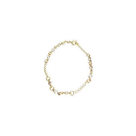 Pulseira Armazem RR Bijoux infantil dourada com cristais