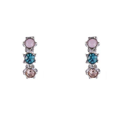 Brinco Armazem RR Bijoux mini cristais coloridos rosa e azul