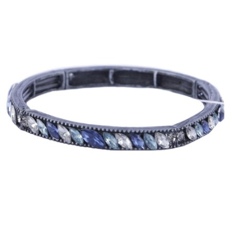 Pulseira Armazem RR Bijoux regulável cristal navetes azul
