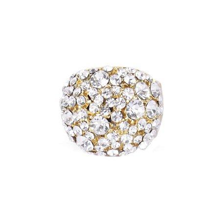 Anel Armazem RR Bijoux redondo cristais cravejados