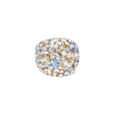 Anel Armazem RR Bijoux redondo cristais cravejados coloridos