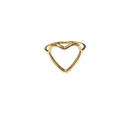 Anel Armazem RR Bijoux coração dourado