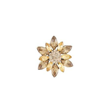 Broche Armazem RR Bijoux flor dourado