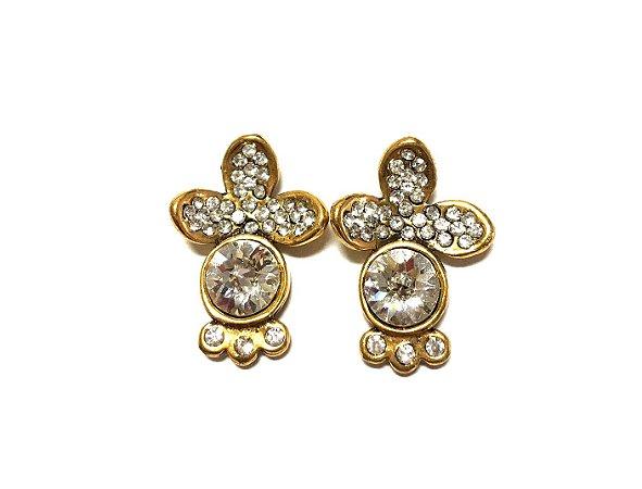Brinco Armazem RR Bijoux swarovski cristal ouro velho