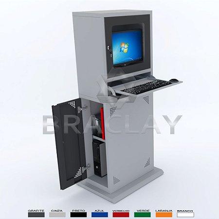 Rack Industrial Para Computador Slim com visor em acrílico BRA-1090 Braclay