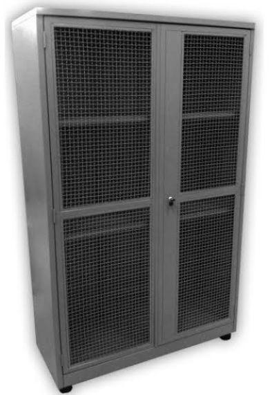 Armário industrial para ferramentas c/ 04 prateleiras porta em tela ondulada BRA-2120T