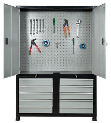 Armário industrial para ferramentas c/ 10 gavetas e painel perfurado, porta em aço ORK-023