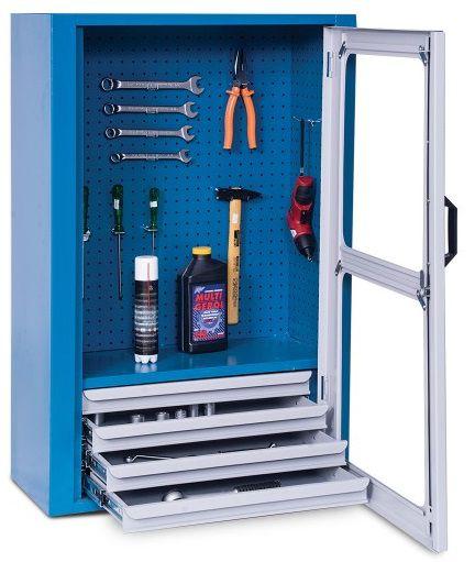 Armário industrial para parede c/ painel perfurado e 04 gavetas ARM-029/025