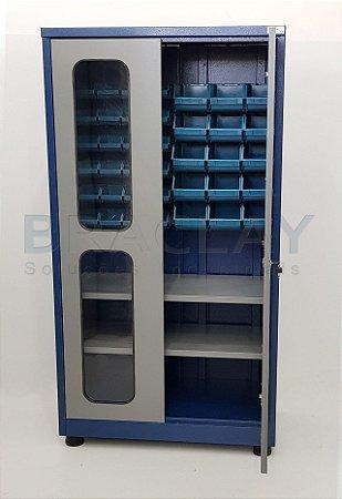 Armário Industrial Porta Componentes c/ 02 prateleiras BRA-293CBA Braclay