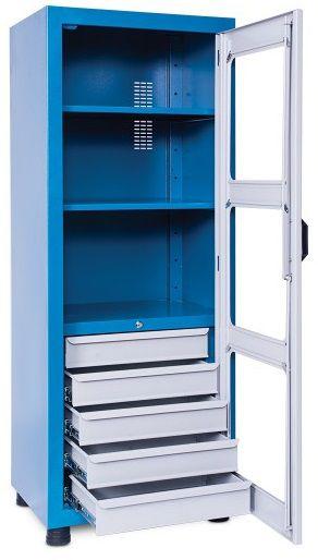 Armário industrial compacto c/ 2 prateleiras e 05 gavetas porta em acrílico ou aço 155GA / ARM-015 CMB