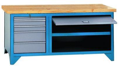 Bancada industrial para serviços c/ 05 gavetas, porta retátil  217A CMB