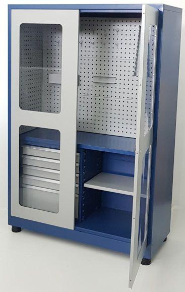 Armário industrial para ferramentas c/ 05 gavetas e painel perfurado BRA-2122GPA BRACLAY