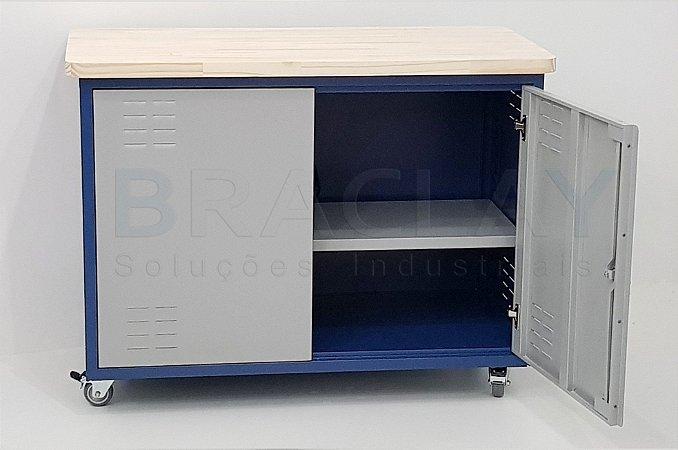 Bancada industrial c/ 02 portas e prateleira interna BRA-10117 BRACLAY