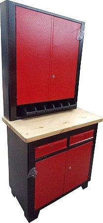 Bancada industrial para serviços com armário para ferramentas BRA-10147