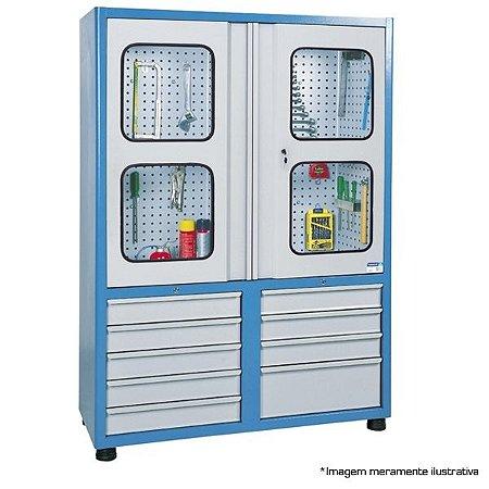 Armário industrial para ferramentas c/ 09 gavetas e painel perfurado porta em vidro AM-68 MARCON