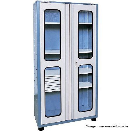 Armário industrial para ferramentas c/ 03 prateleiras e 03 gavetas com porta em vidro AM-76 MARCON