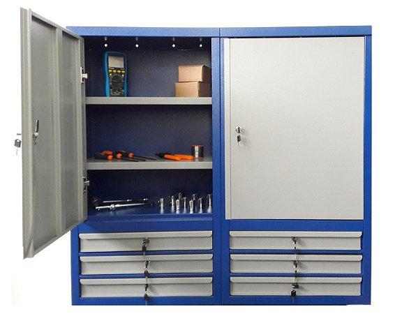 Armário industrial para ferramentas de parede c/ 06 gavetas e prateleiras BRA-10208 BRACLAY