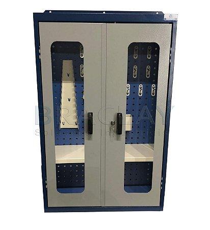 Armário industrial de parede para ferramentas c/ 01 prateleira c/ painel perfurado BRA-10203